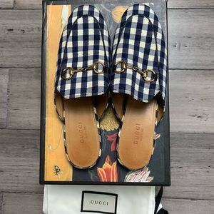 GUCCI Black/white Gingham Princetown Mules…